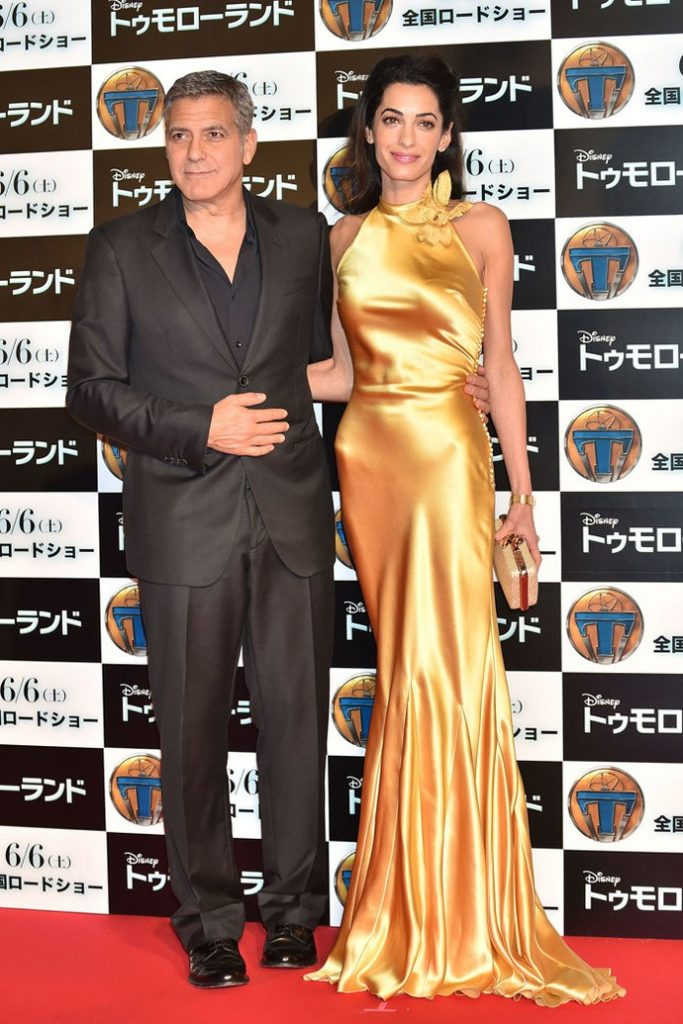 "TOKYO, JAPAN - MAY 25: Lawyer Amal Clooney (R) and actor George Clooney (L) attends the Tokyo premiere of ""Tomorrowland"" at Roppongi Hills on May 25, 2015 in Tokyo, Japan. (Photo by Atsushi Tomura/Getty Images)"
