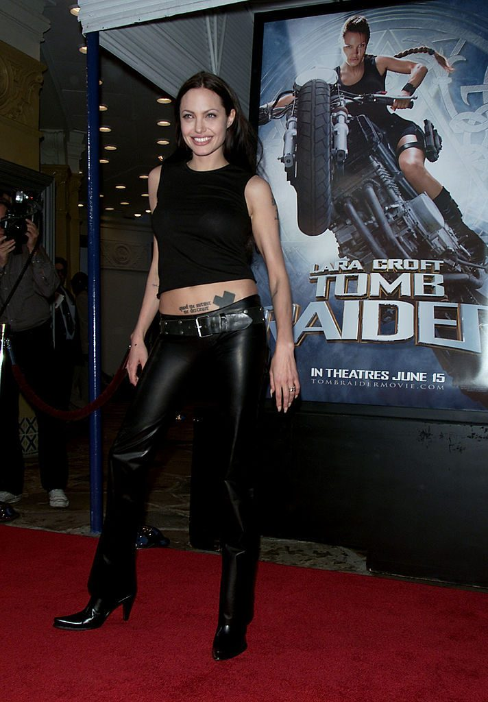 Angelina Jolie before the premiere of the film 'Lara Croft: Tomb Raider' at Mann Village Theatre in Los Angeles, CA., Monday, June 11, 2001. (photo by Kevin Winter/Getty Images)