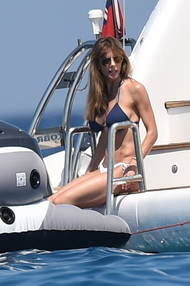 Sylvester Stallone's wife Jennifer Flavin shows off her incredible figure as she lounges off the back of a luxury yacht in the South of France.
