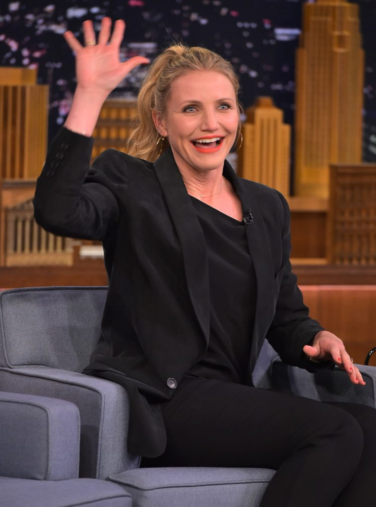 "NEW YORK, NEW YORK - APRIL 06:  Cameron Diaz Visits ""The Tonight Show Starring Jimmy Fallon"" at NBC Studios on April 6, 2016 in New York City.  (Photo by Theo Wargo/Getty Images for NBC)"