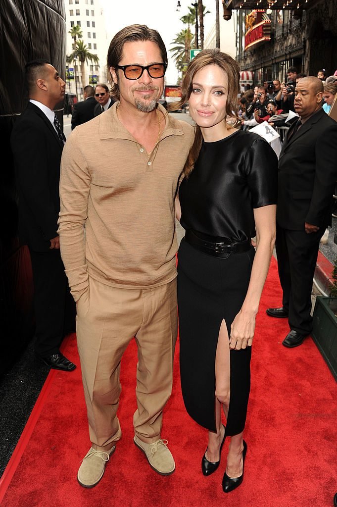 "HOLLYWOOD, CA - MAY 22: Actors Brad Pitt (L) and Angelina Jolie arrive at the Los Angeles premiere Of DreamWorks Animation's ""Kung Fu Panda 2"" held at Grauman's Chinese Theatre on May 22, 2011 in Hollywood, California. (Photo by Kevin Winter/Getty Images)"