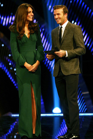 The Duchess of Cambridge (left) and David Beckham during the BBC Sports Personality of the Year Awards 2012 at ExCeL London.