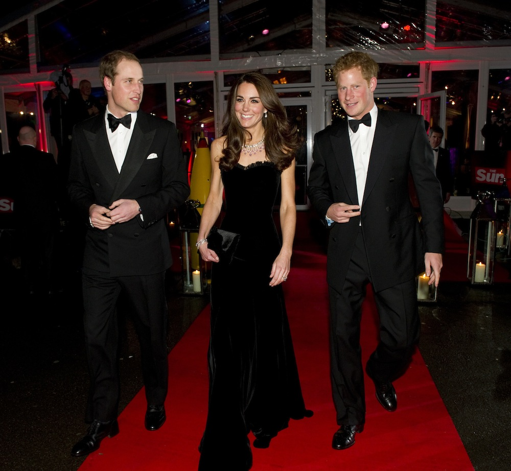 The Sun Military Awards 2011. Pic Arthur Edwards.               19.12.11.        **Rota Picture** Duke & Duchess of Cambridge and prince harry.