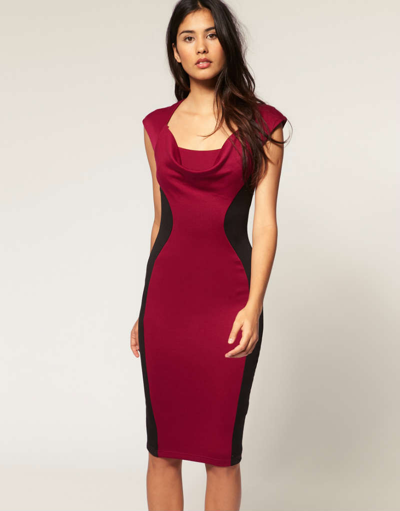 tfnc-pencil-midi-dress-curved-contour-detail