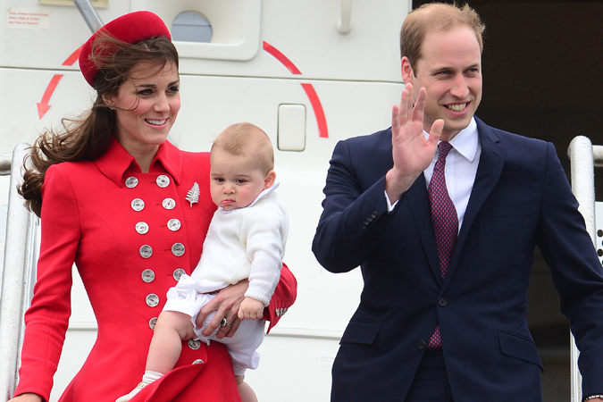 The Duke and Duchess of Cambridge and Prince George arrive at Wellington Airport